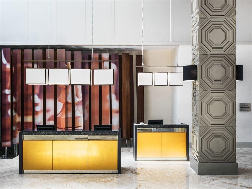 Lobby Modern cabinetry lighting flooring living room