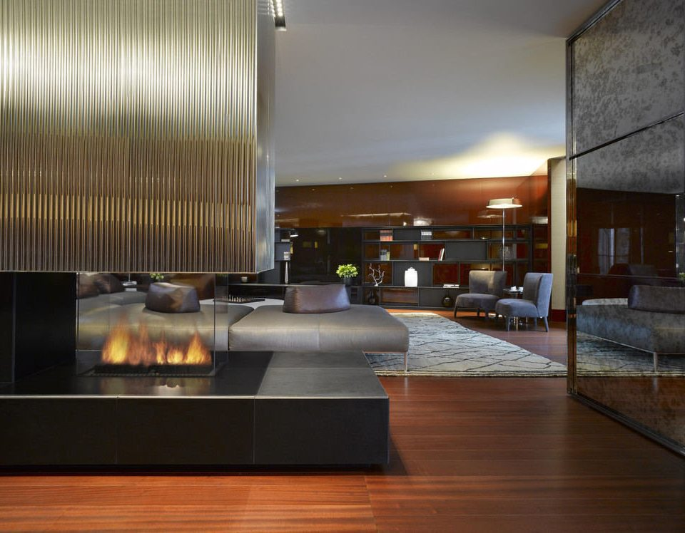 property Lobby living room condominium hardwood home hearth lighting wood flooring flooring loft Modern silver