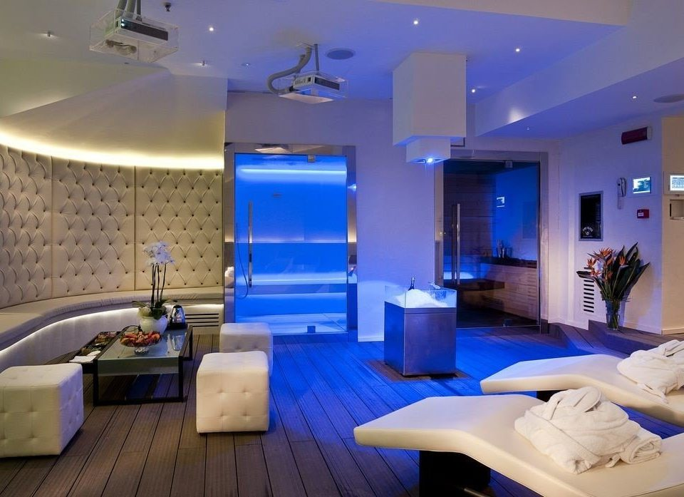 property swimming pool lighting Suite Lobby convention center condominium living room conference hall blue Modern
