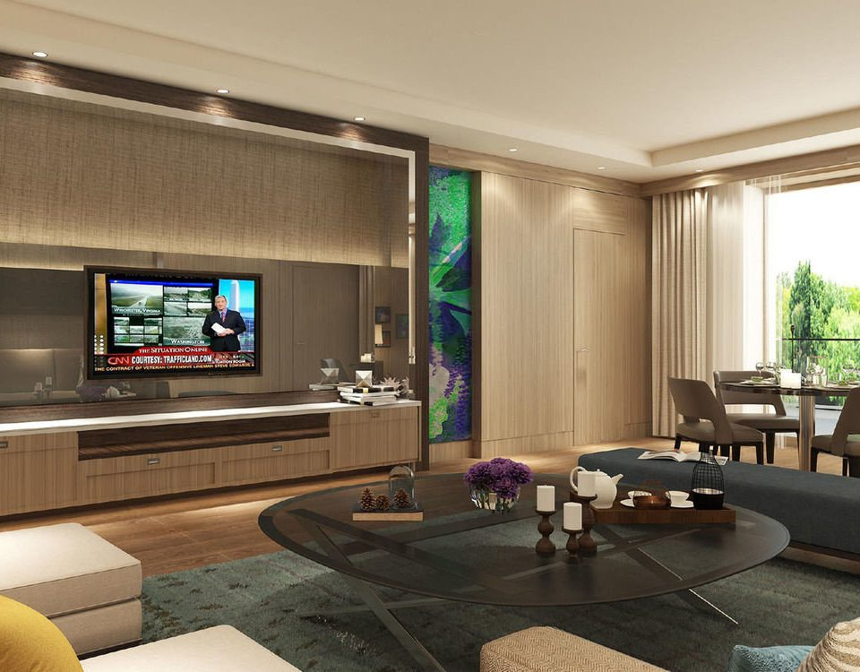 sofa living room television property condominium home Lobby screen recreation room lighting flat Suite Modern