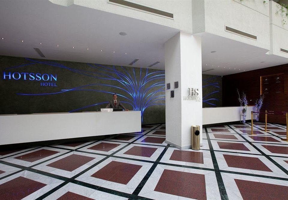 Lobby Modern Tropical property flooring white home