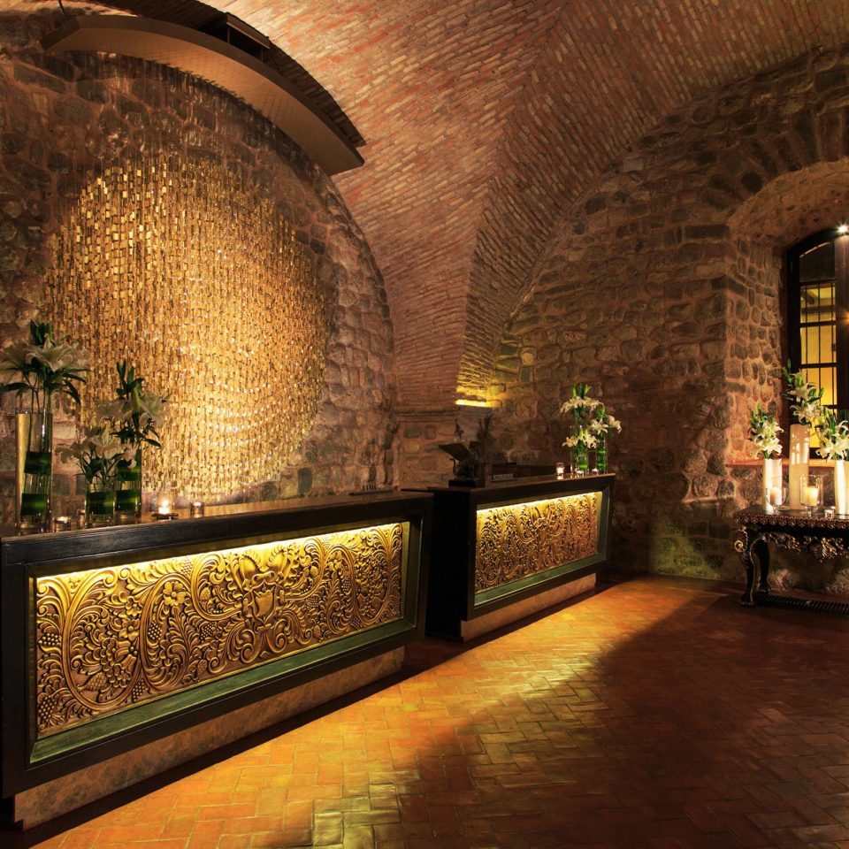 Lobby Modern building stone arch hacienda brick mansion chapel ancient history crypt Winery walkway colonnade