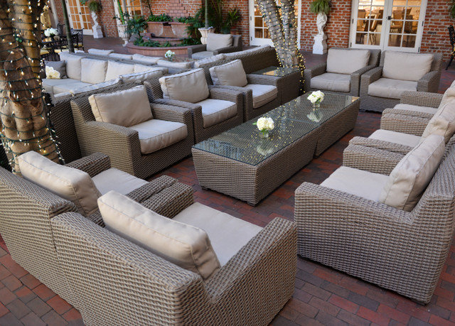 property living room wicker outdoor structure Patio Lobby porch sofa