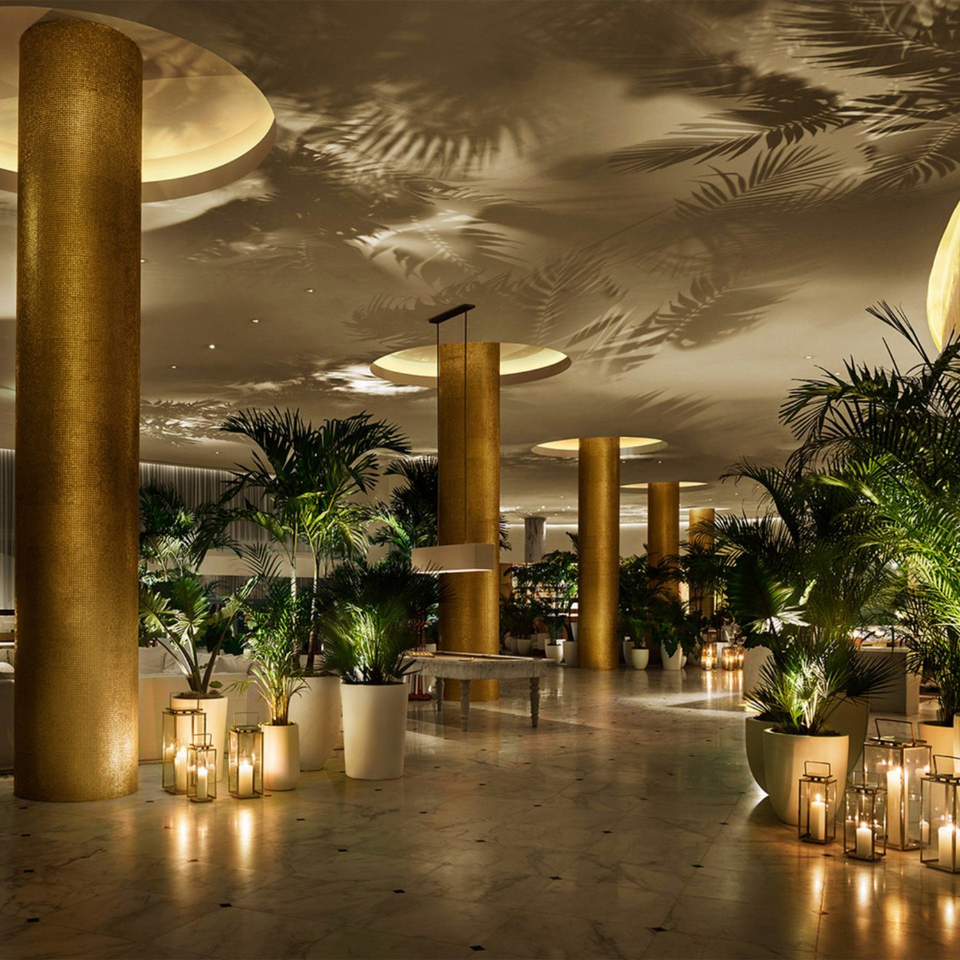 Lobby night lighting restaurant arecales evening Resort landscape lighting