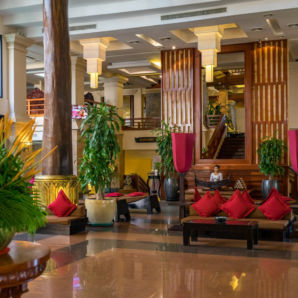 Lobby property building home Resort condominium restaurant floristry plant living room