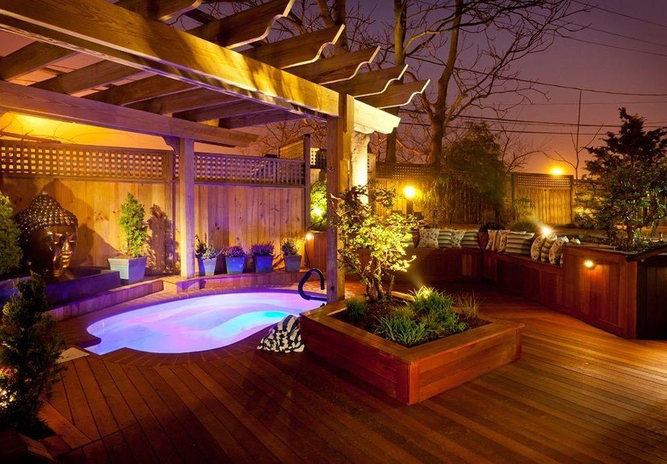 Resort Lobby landscape lighting swimming pool mansion