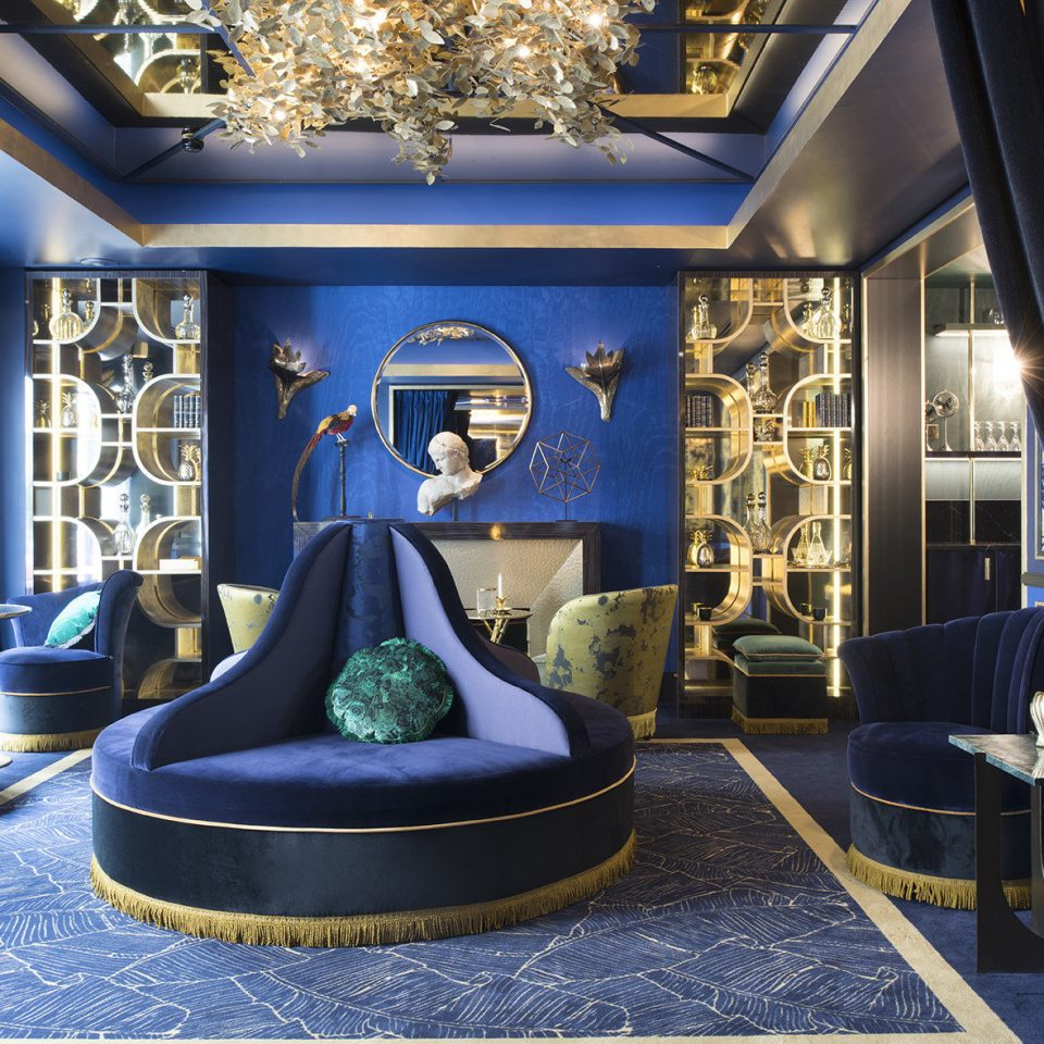 blue living room home Suite Lobby