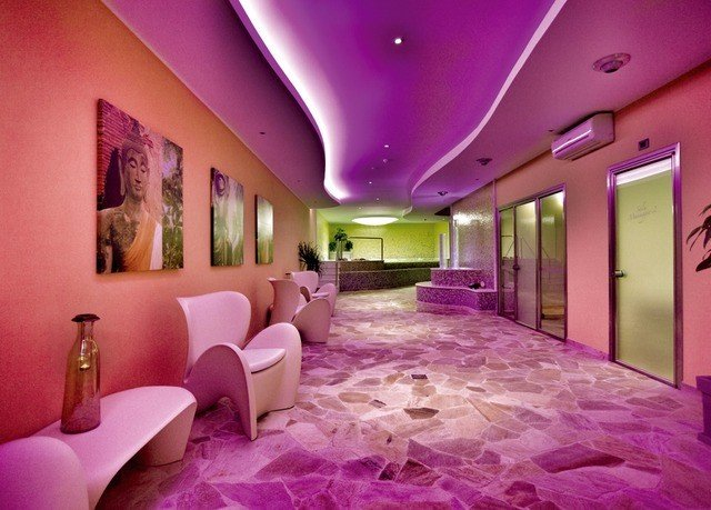 purple pink property function hall mansion Lobby Suite painted colored