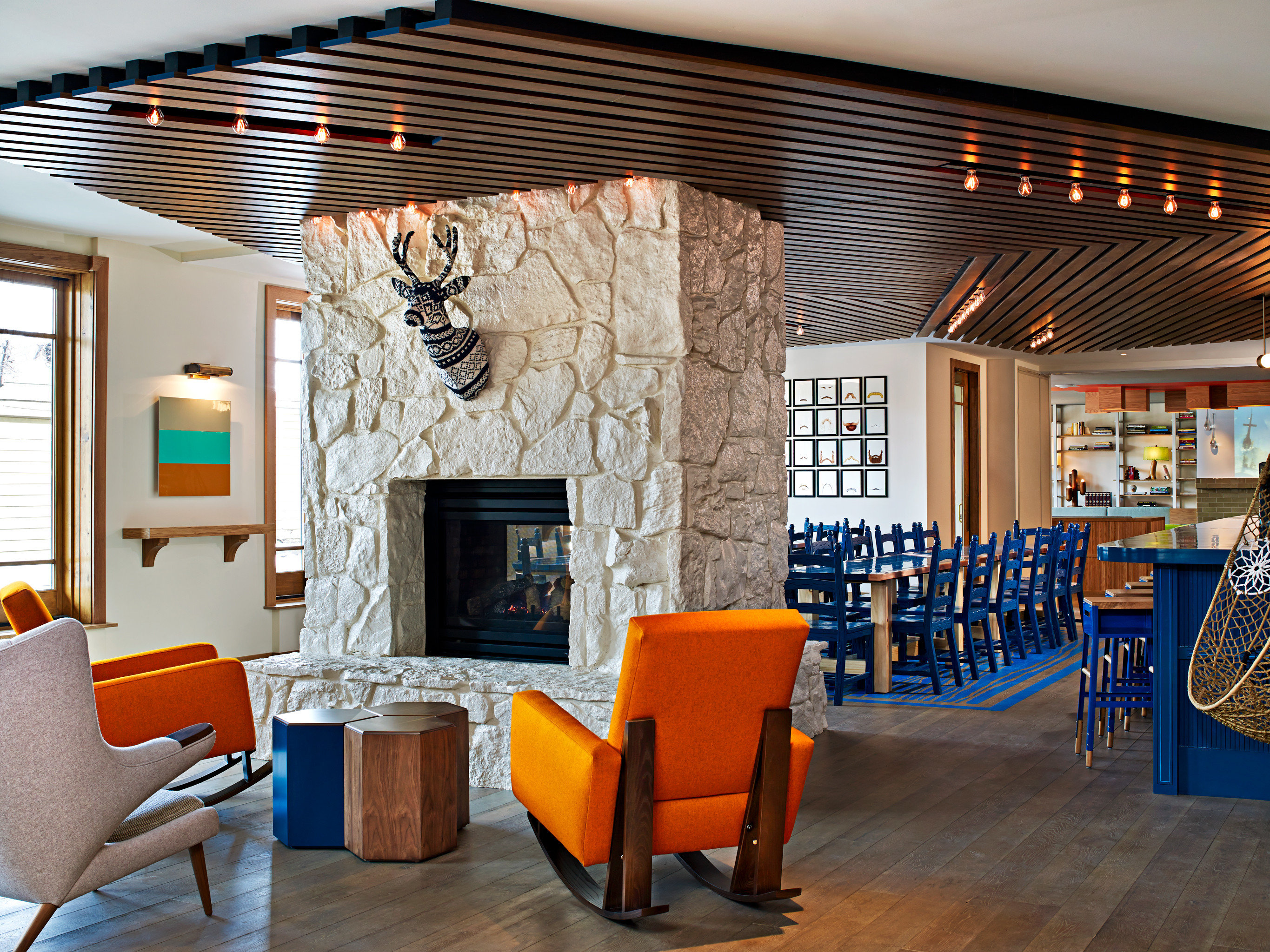 Lodge Lounge Mountains Ski chair property living room orange home cottage