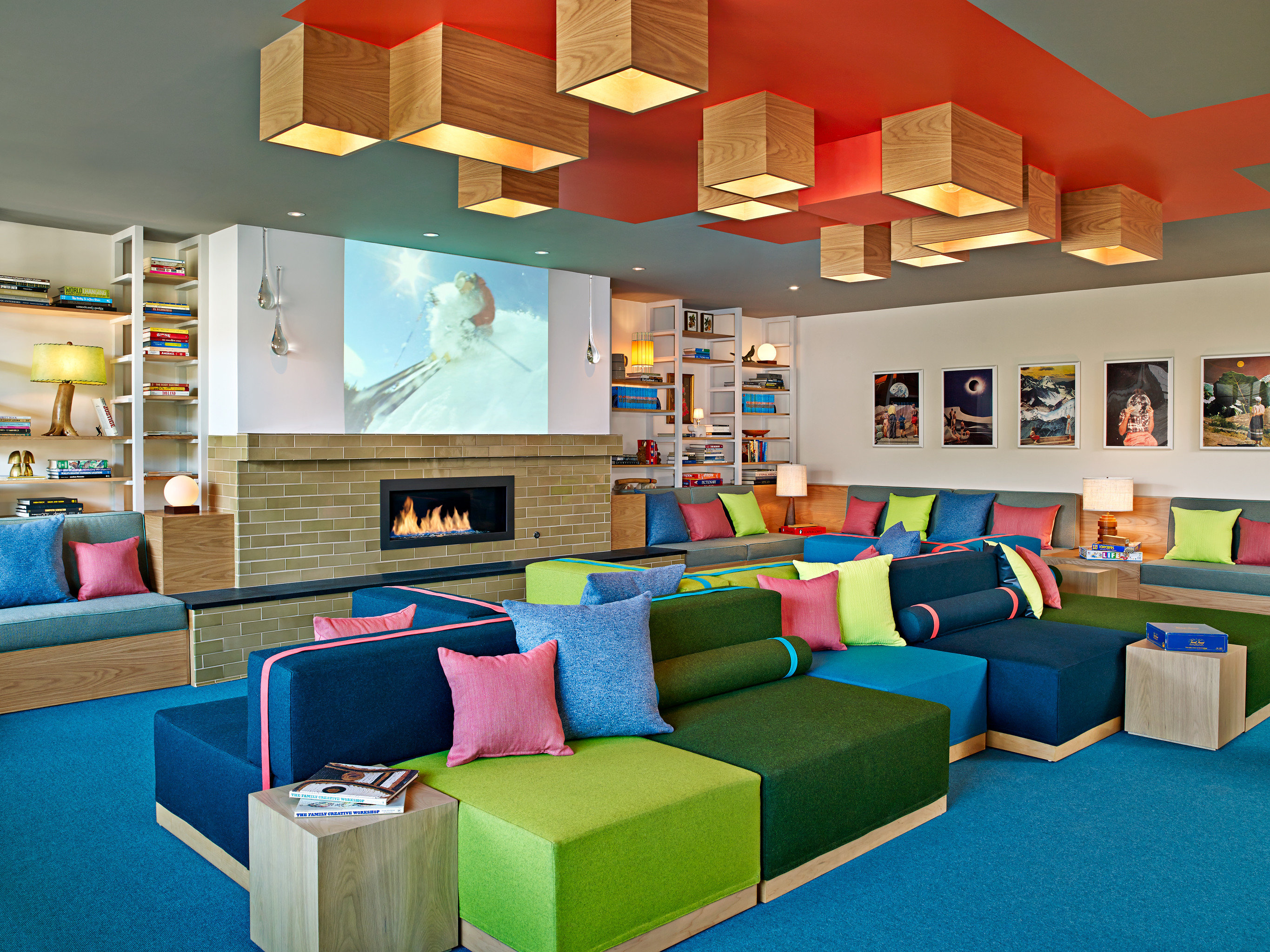 Lodge Lounge Mountains Ski color leisure recreation room living room home colorful colored