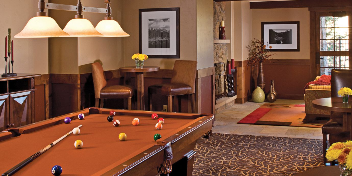 Lodge Lounge Rustic billiard room recreation room pool table poolroom hardwood billiard table living room indoor games and sports