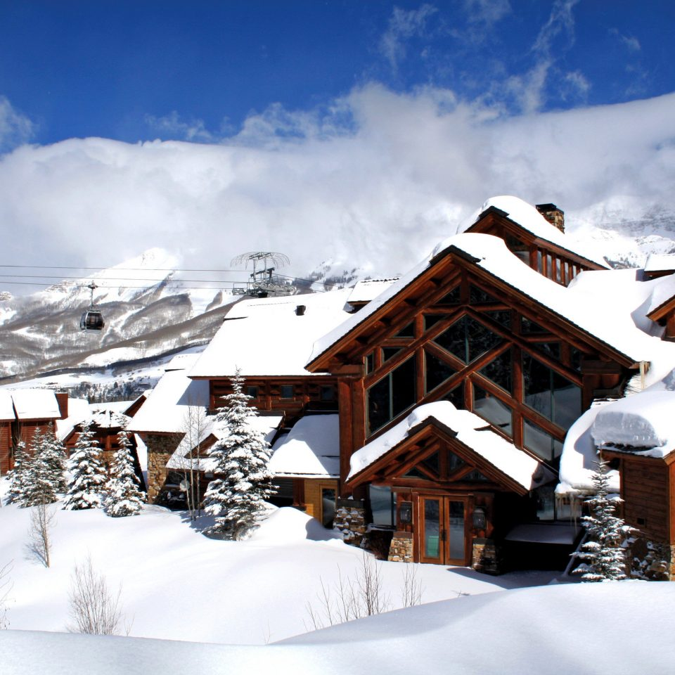 Lodge Mountains Outdoors Scenic views snow sky mountainous landforms Winter mountain range mountain weather Resort geological phenomenon season piste house alps Nature ski equipment Ski