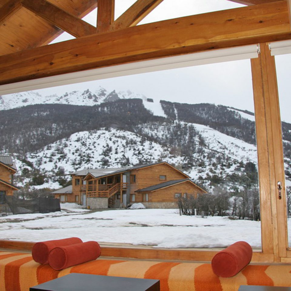 Lodge Mountains Rustic Ski snow house wooden log cabin home cottage outdoor structure Resort backyard porch orange