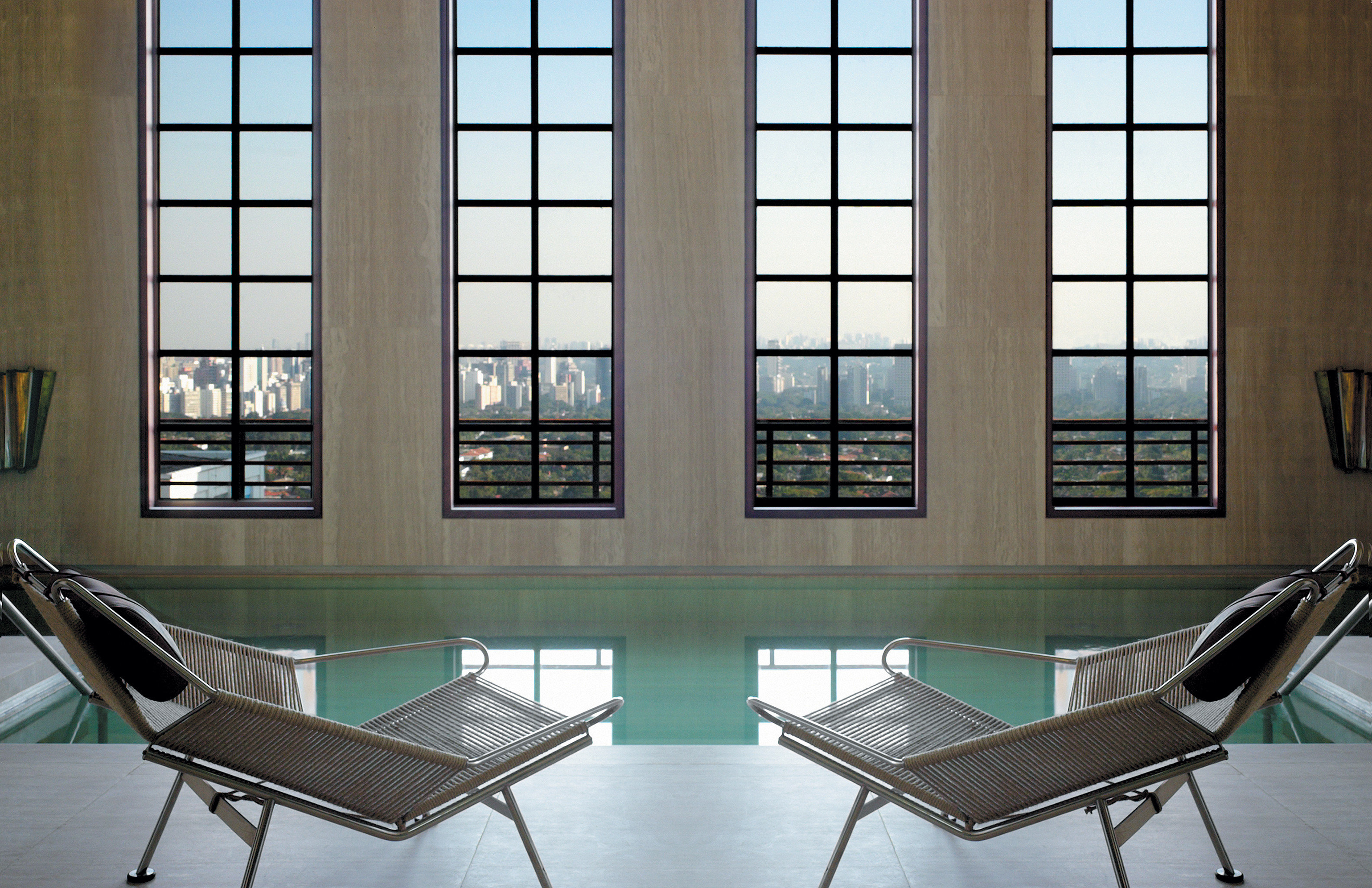 Lounge Luxury Modern Pool chair property home condominium daylighting living room dining table