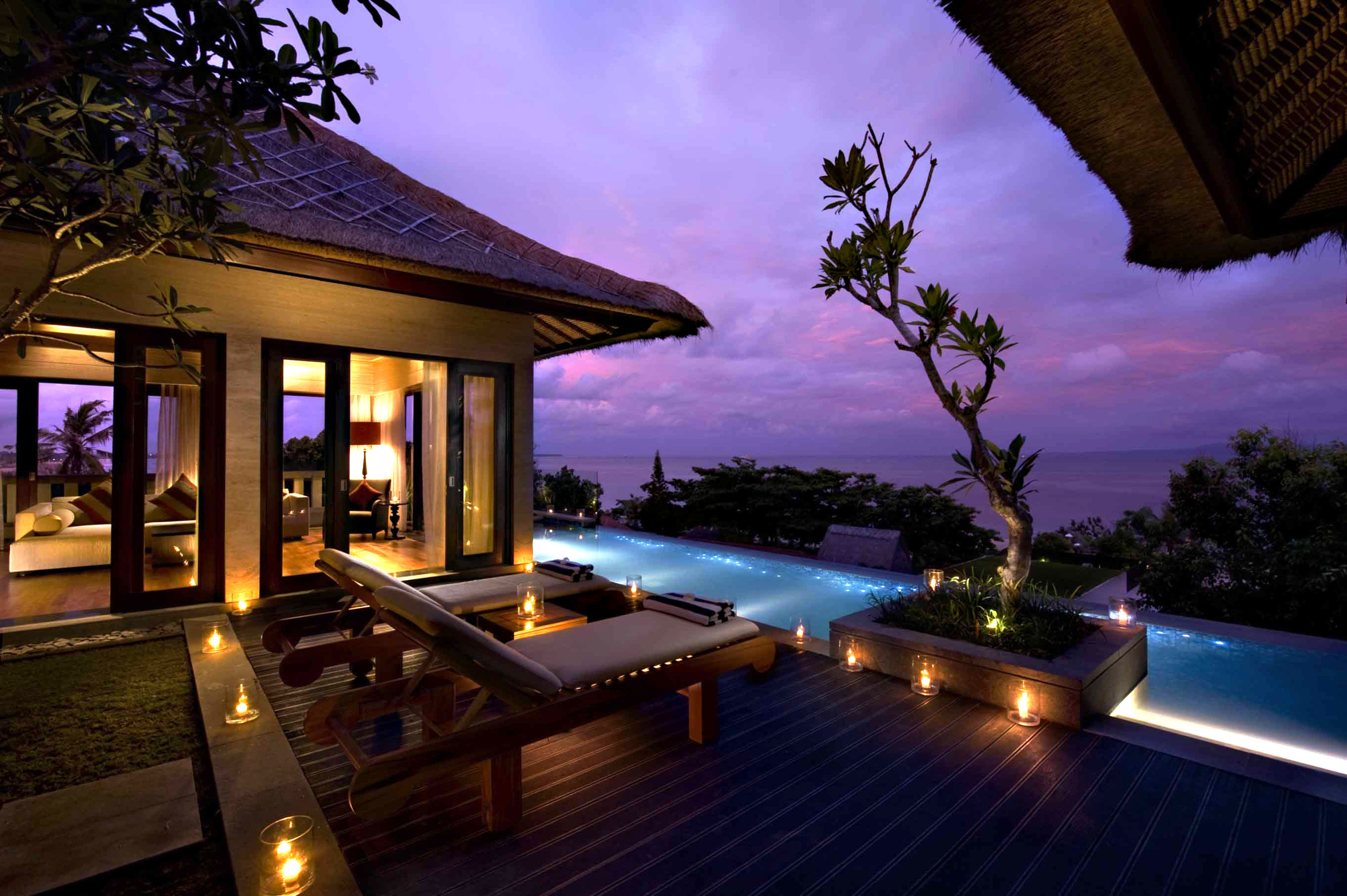 Lounge Luxury Modern Pool tree property swimming pool Resort house Villa home mansion landscape lighting condominium