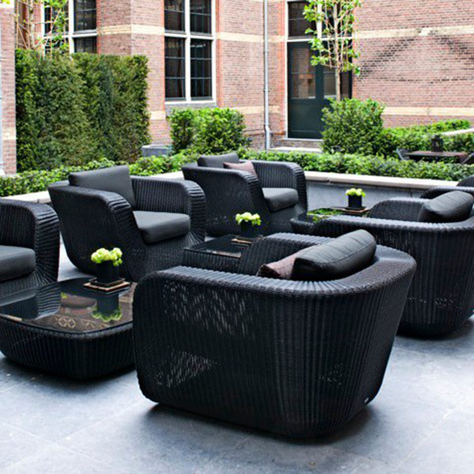 Lounge Modern Patio man made object wicker living room couch backyard lawn studio couch outdoor structure material flowerpot stone