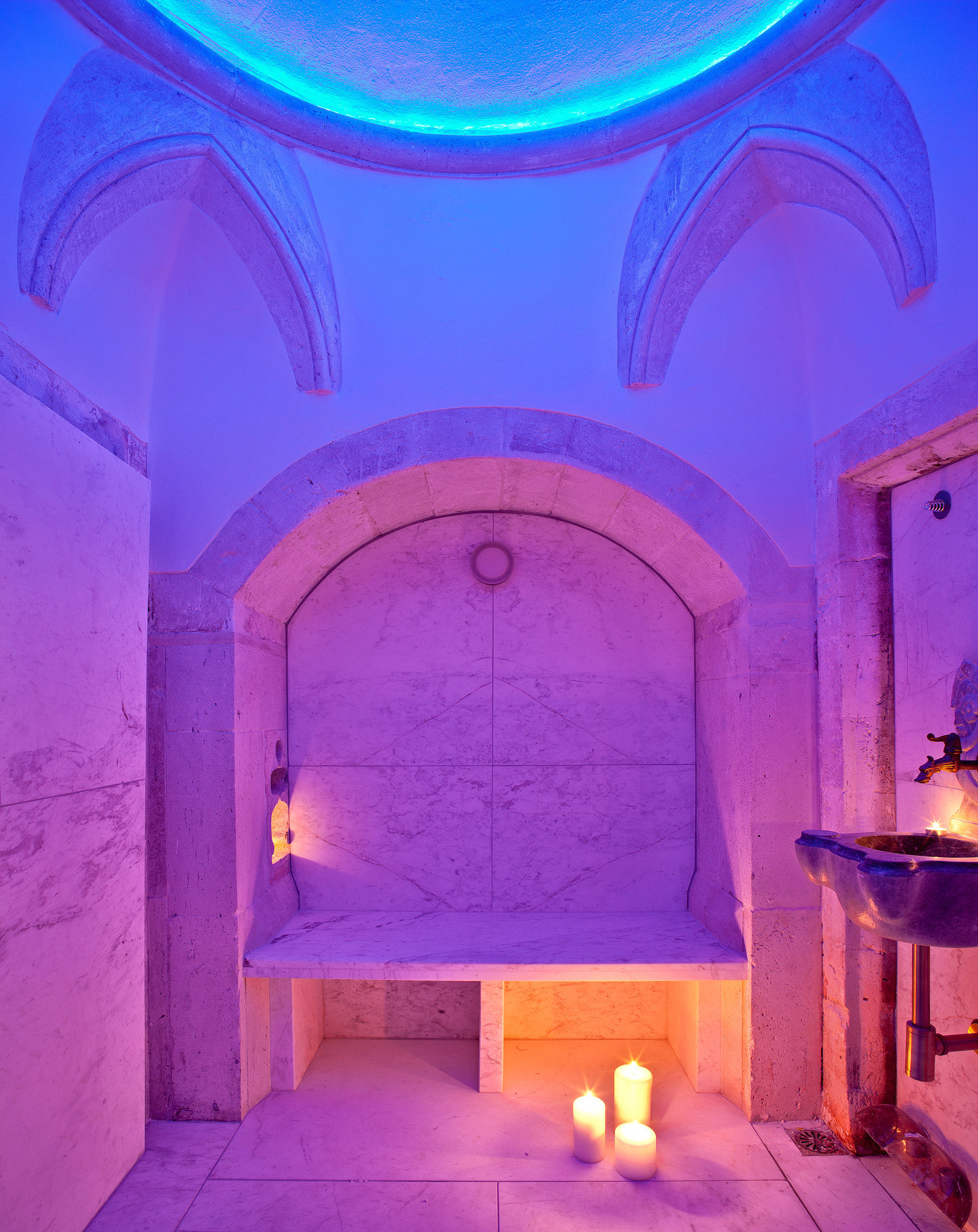 Lounge Modern Romantic Spa color blue lighting arch bright painted