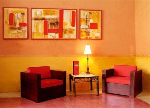 Lounge property red orange living room Suite modern art cottage