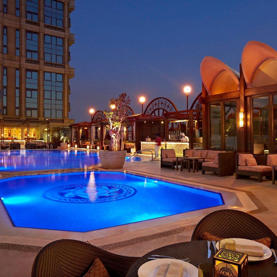 Luxury Modern Pool leisure building Resort swimming pool blue