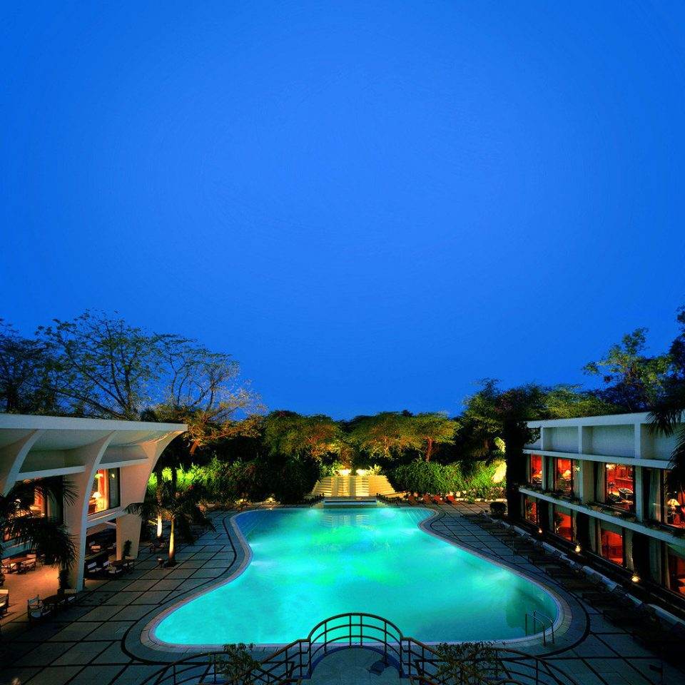 Luxury Patio Pool Scenic views Terrace sky tree swimming pool night Resort evening dusk