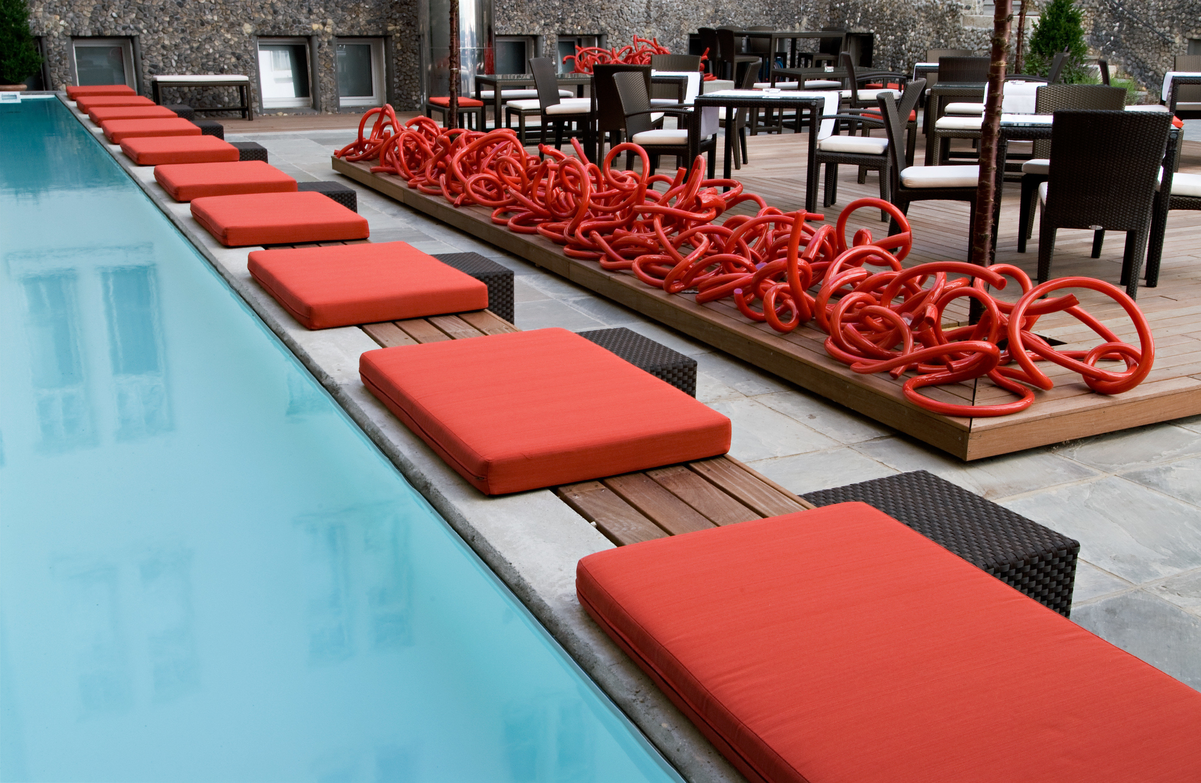 Luxury Pool leisure red structure sport venue swimming pool flooring restaurant orange lined