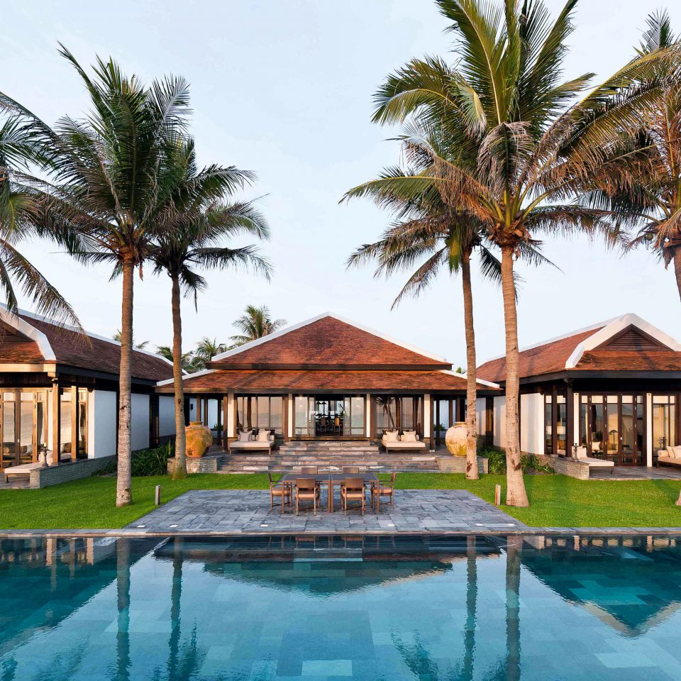 Luxury Pool Resort Romance Villa Waterfront tree water house property swimming pool building home palm mansion hacienda eco hotel surrounded swimming lined