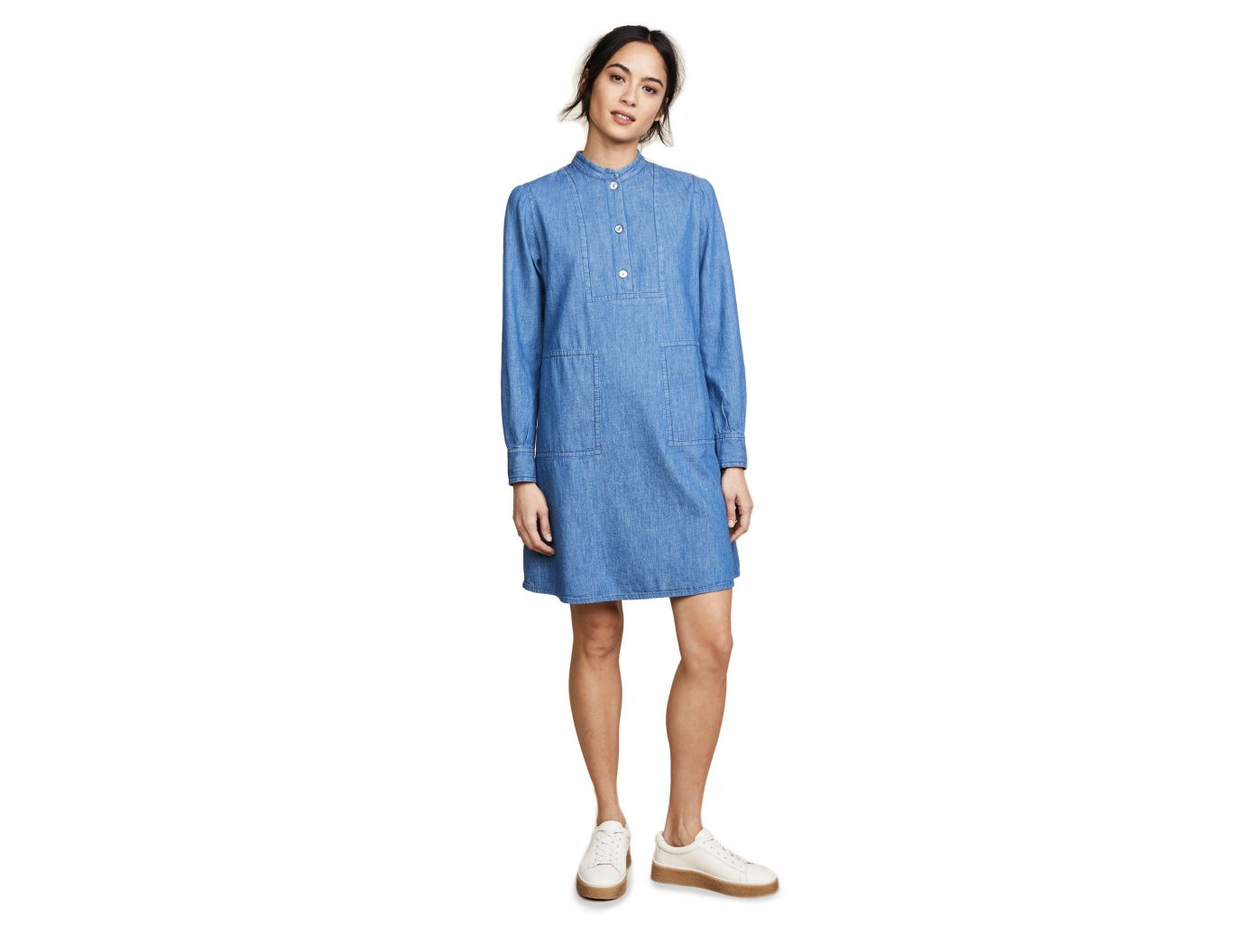 Style + Design Travel Shop standing clothing sleeve denim posing dress day dress electric blue button neck jeans joint shoe pattern work-clothing