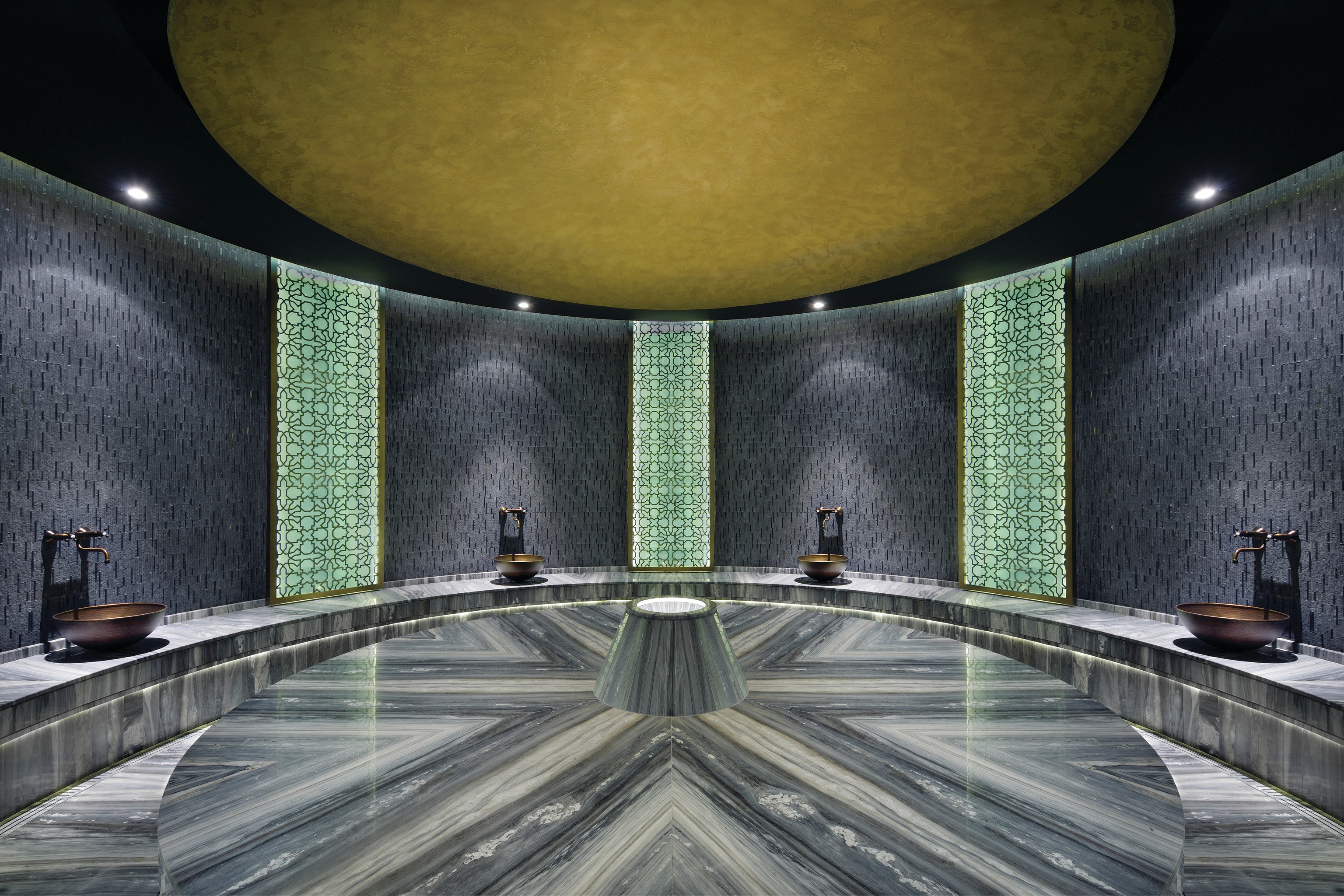 Health + Wellness Trip Ideas indoor Architecture interior design green ceiling space symmetry Lobby estate daylighting