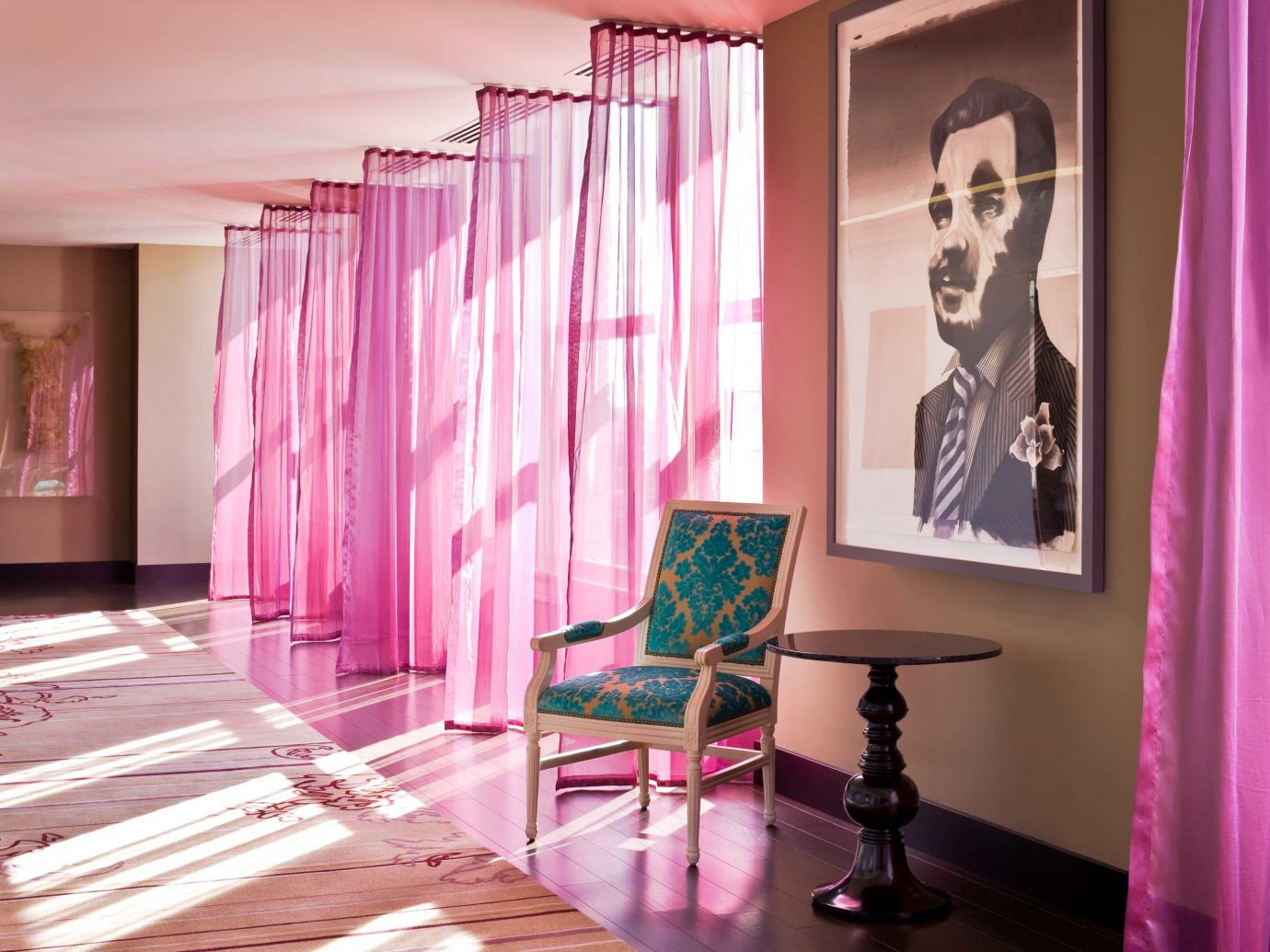 Hip Living Lounge Modern Travel Trends Trip Ideas curtain wall color indoor floor pink room interior design window covering window treatment living room purple furniture decorated colored