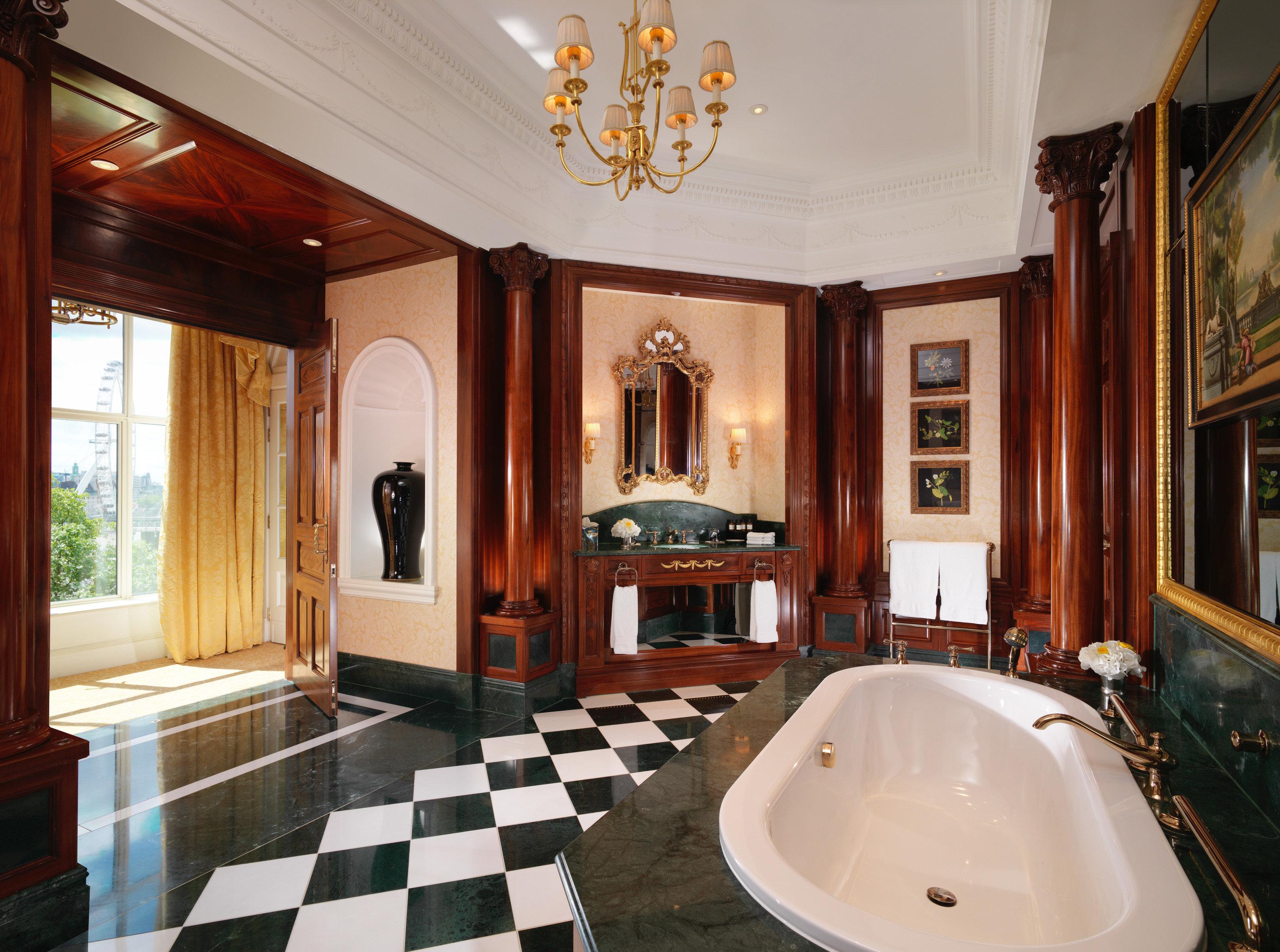 Hotels London Luxury Travel indoor bathroom window room property ceiling estate interior design sink real estate Suite flooring tub tile bathtub Bath tiled