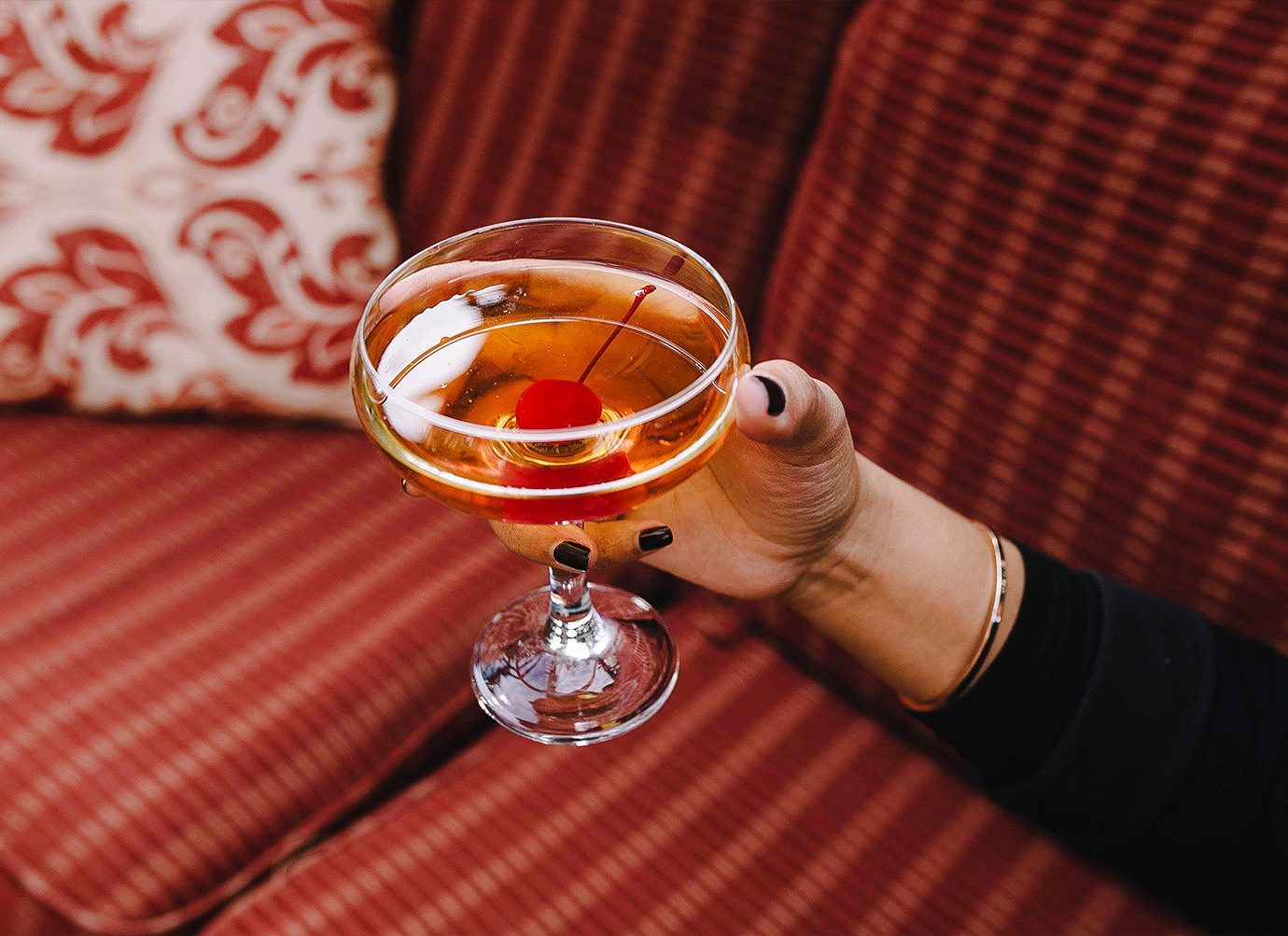 Boutique Hotels Food + Drink Hotels table indoor Drink stemware wine glass liqueur glass beverage tableware striped drinkware