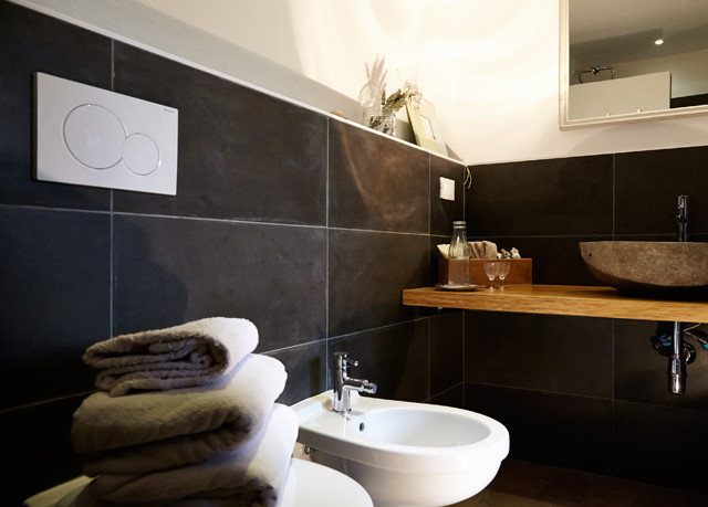 bathroom property sink countertop home flooring plumbing fixture tile bathtub Modern