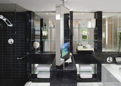 bathroom property black condominium plumbing fixture Modern