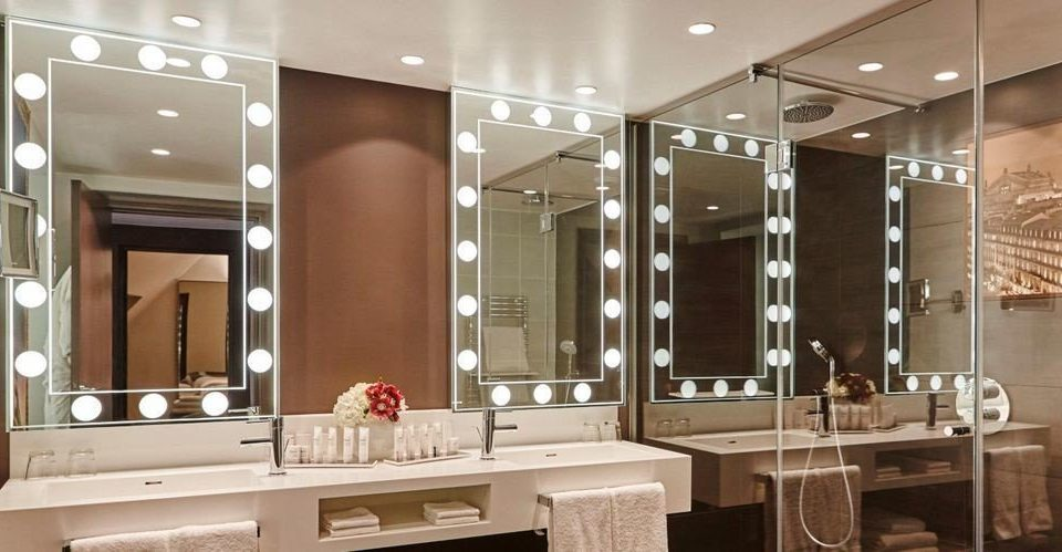 bathroom mirror cabinetry sink lighting Modern