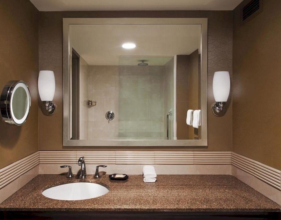 bathroom mirror sink property home countertop towel vanity flooring clean Modern tan