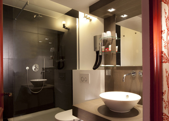 bathroom mirror sink toilet lighting plumbing fixture Modern