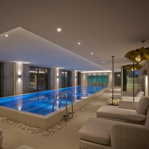 swimming pool property condominium lighting living room Villa Resort mansion blue Modern