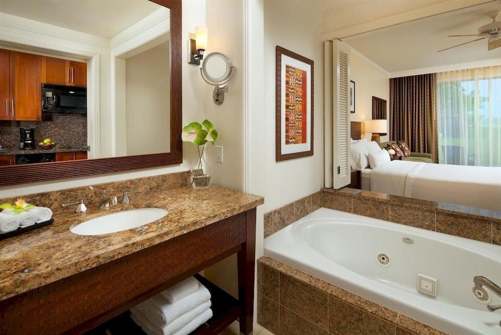 bathroom sink mirror property counter home Suite countertop hardwood cottage double vanity clean Modern tan