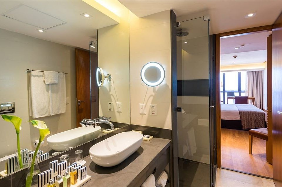 bathroom property mirror sink Suite home condominium vehicle yacht Modern tan