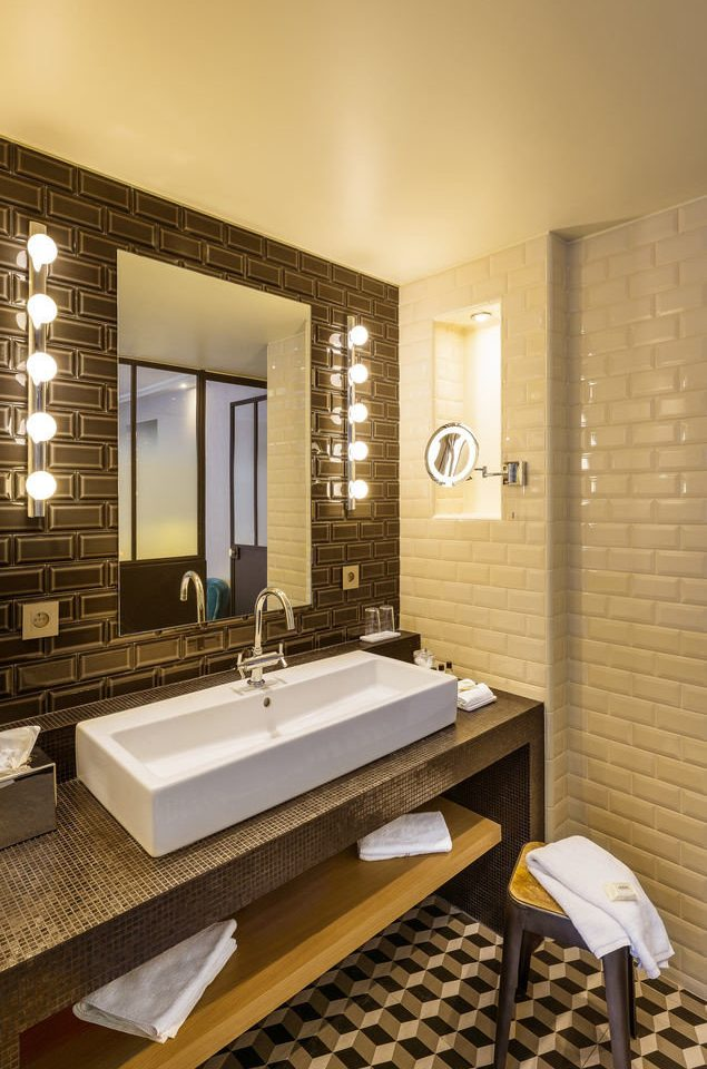 bathroom mirror property Suite sink home swimming pool condominium flooring Modern tile tiled
