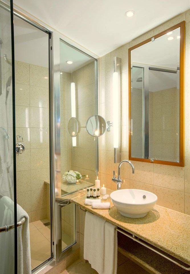 bathroom mirror sink shower property glass Suite plumbing fixture stall Modern tan