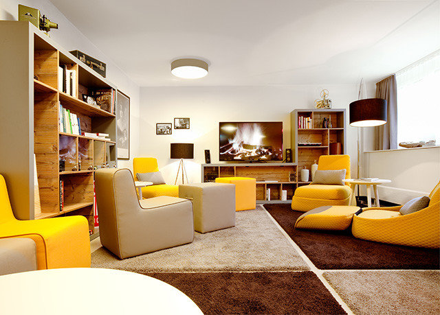 living room property condominium home hardwood Suite yellow Modern
