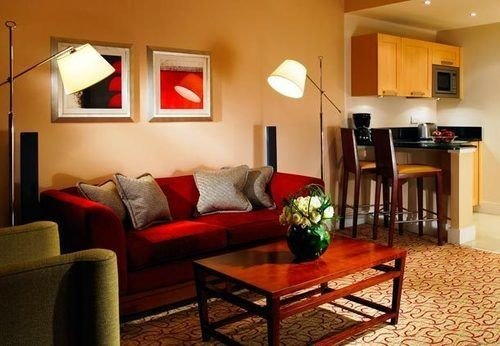 red property living room Suite cottage home hardwood Villa condominium Modern leather