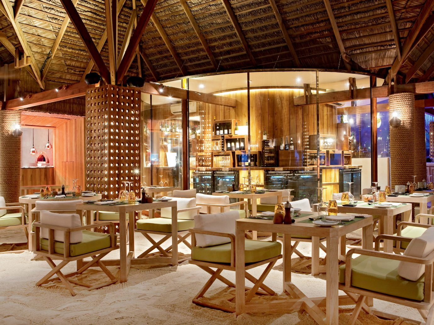 All-Inclusive Resorts Beachfront Dining Hotels Island Luxury Luxury Travel Romance Romantic table chair restaurant indoor room Resort meal café function hall interior design estate area several