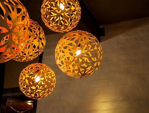 Music yellow light lighting light fixture carving food circle shape glass sphere lamp orange