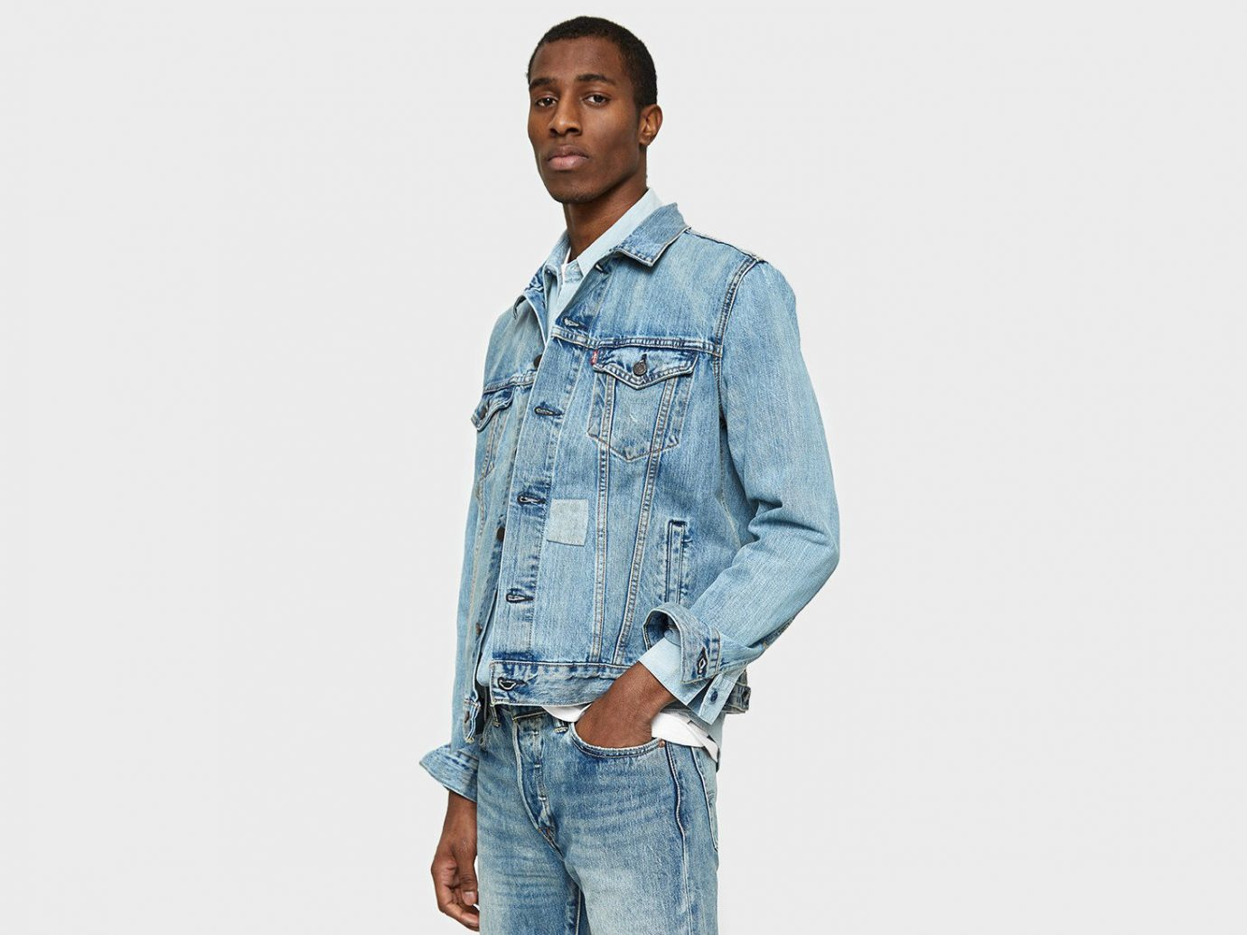 6786a7ffdd009 Style + Design Travel Shop person denim man standing jeans sleeve textile  outerwear shirt jacket material