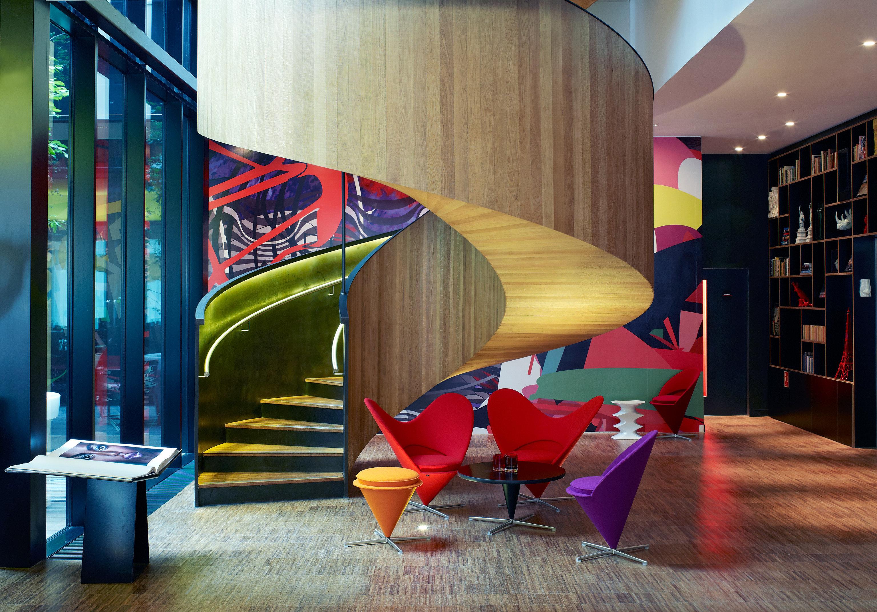 Budget Hotels London Trip Ideas floor indoor color room interior design art Lobby Design furniture