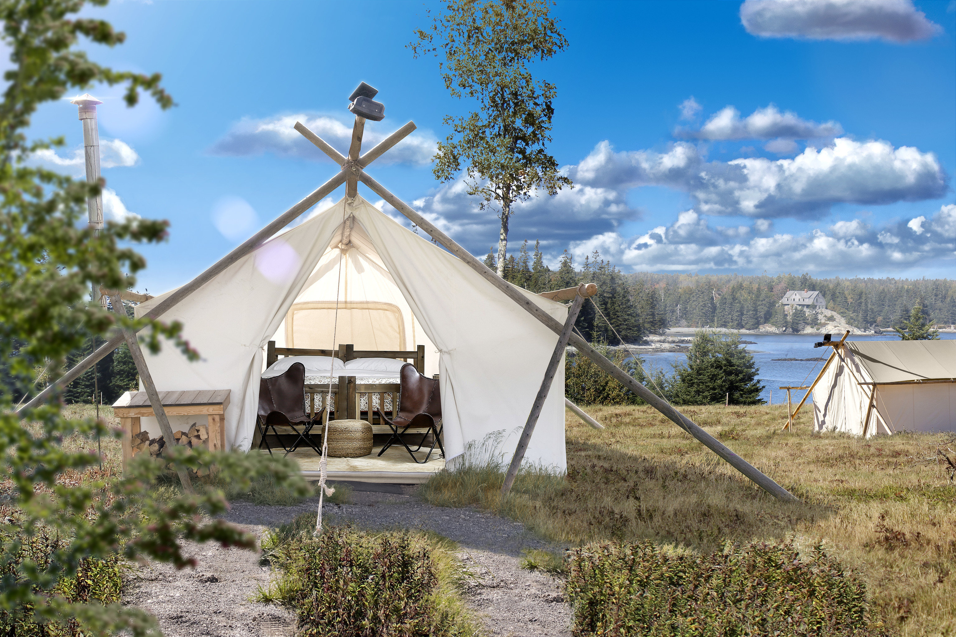 Glamping Luxury Travel Outdoors + Adventure Trip Ideas Weekend Getaways sky outdoor tree grass building cottage home tepee hut house rural area real estate cloud yurt landscape mountain