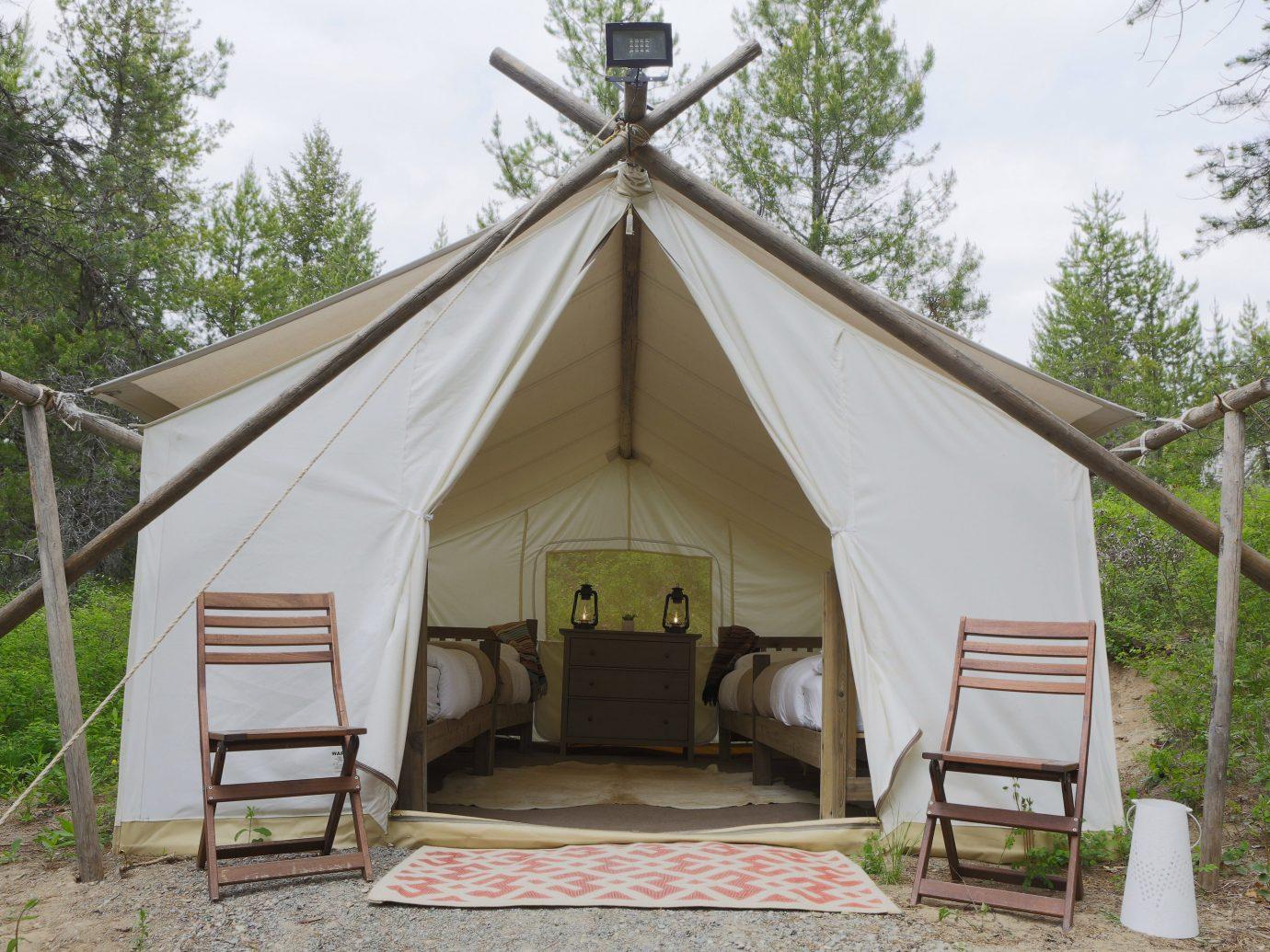 Glamping Outdoors + Adventure Weekend Getaways tree sky outdoor tent outdoor object camp