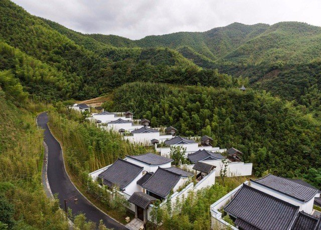mountain Nature aerial photography residential area reservoir bird's eye view mountain range hillside surrounded lush highland